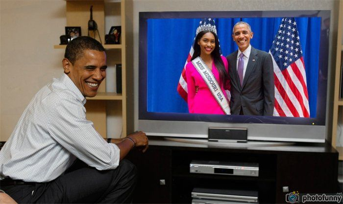 Bayleigh Dayton Miss Missouri USA 2017 and USA President Barack Obama watch live Obama