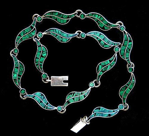 Art Deco Taxco Mexico Sterling Silver Necklace Malachite & Enamel Inlay