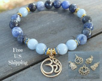 Intuición y entereza, Angelite, Sodalita, piedra preciosa pulsera, Yoga, Om…
