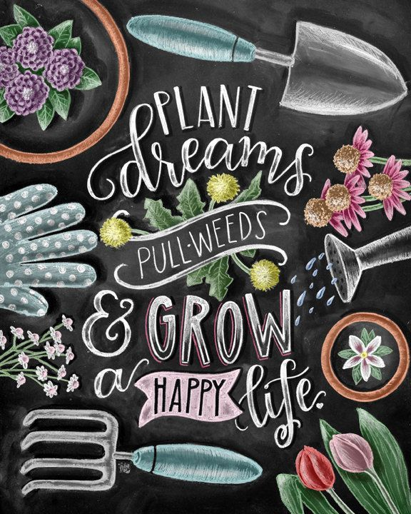 Blackboard Artwork Ideas: Gardening Art Chalkboard Art Chalk Art Garden By