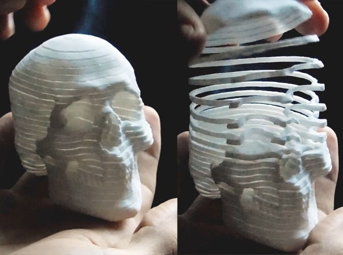 Mortal Coil, A 3D-Printed Skull That is Coiled Like a Slinky