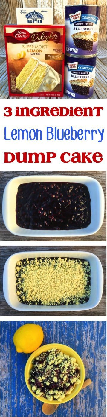 3 Ingredient Dump Cake Recipe! Lemon Blueberry Dump Cakes are such an EASY dessert everyone in the family will love!
