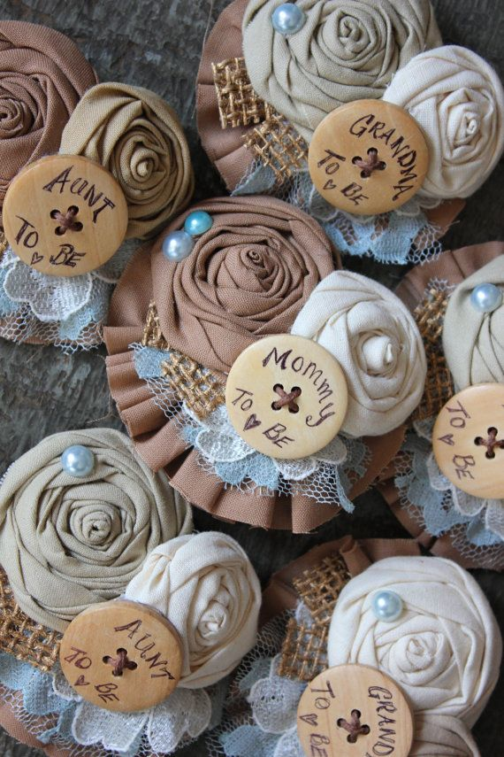 Rustic Country Custom Brooch Flower Burlap & Button by dustyLuck, Bride to be pin, mother to be, mother of bride, custom made!
