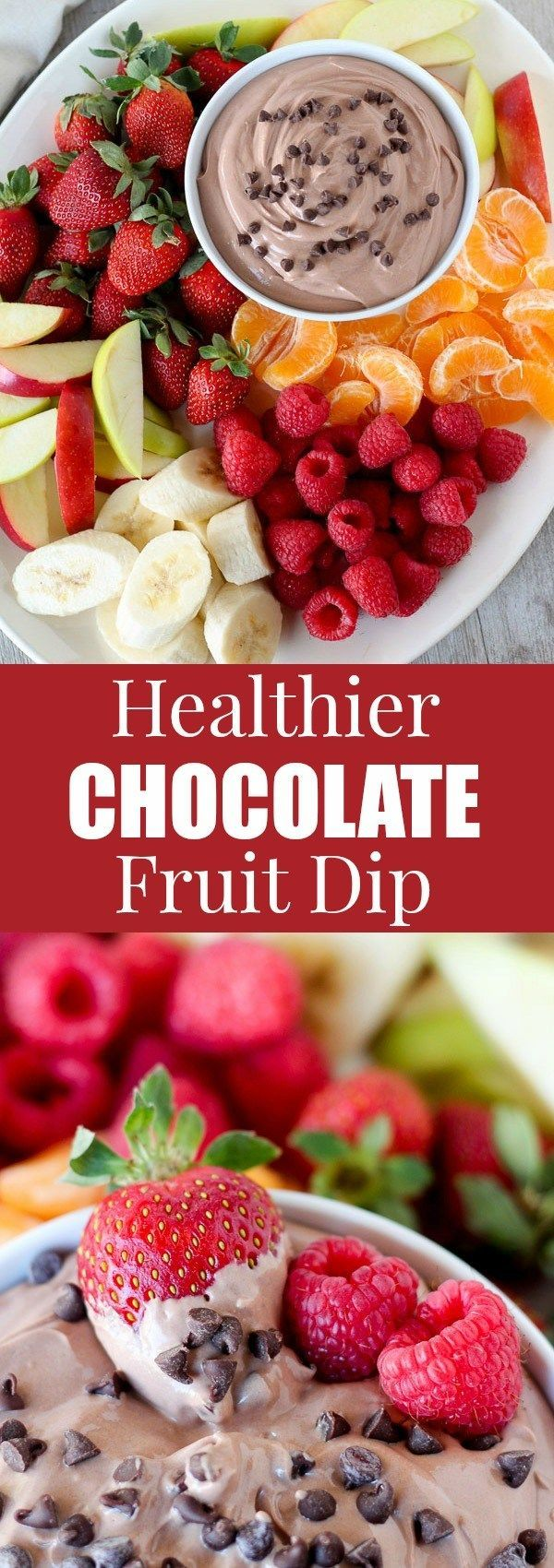 Healthier Chocolate Fruit Dip - A sweet and creamy chocolate fruit dip made healthier with Greek yogurt and light cream cheese. Serve with fruit or pretzels for dipping.: