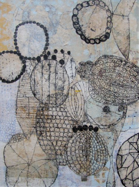 'Seeds and Beads' (2011) by Seattle-based printmaker & collage artist Eva Isaksen. Collage on canvas, 40 x 30 in. via Duane Reed Gallery