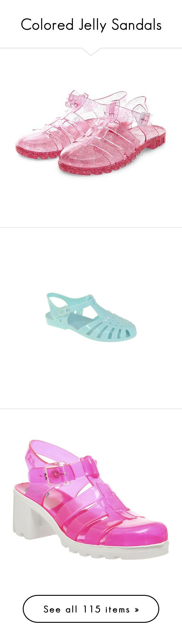 """Colored Jelly Sandals"" by hinatapinata ❤ liked on Polyvore featuring shoes, jelly shoes, caged shoes, pink shoes, pink glitter shoes, glitter jelly shoes, light blue, water sport shoes, women and light blue shoes"