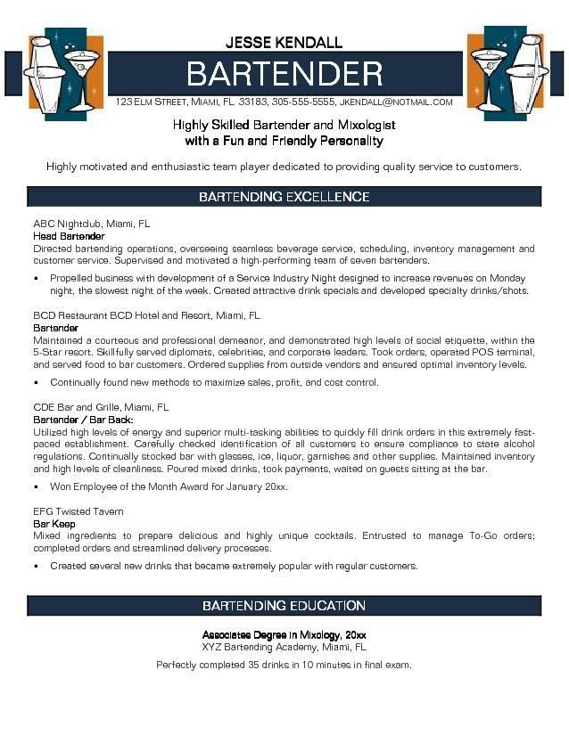 Bartender resume cover letter. Cover Letters. Cover Letter means What? Resume cover letter is an important part of a professional communication. It creates a possibility of your resume being read