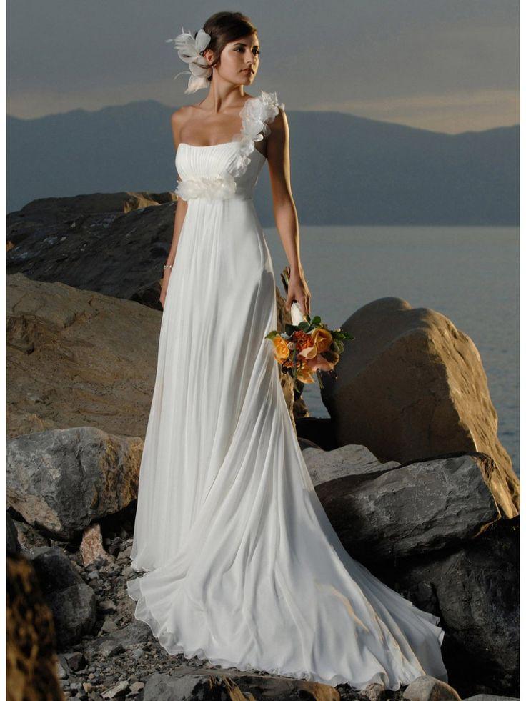 Affordable Empire One Shoulder Sweep Train Ivory Chiffon Destination / Beach Wedding Dresses 801152