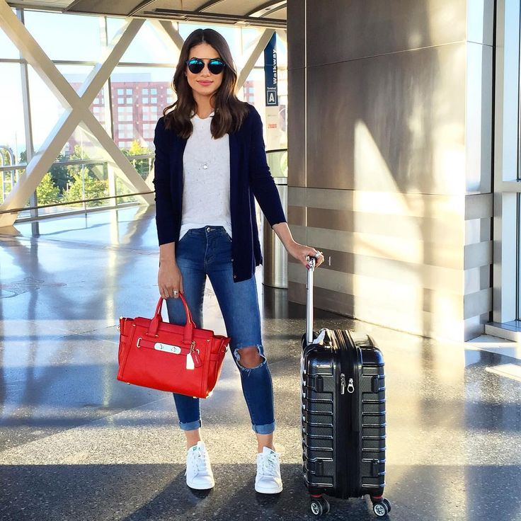 """""""Airport look - casual and comfy with a touch of color (love my swagger bag)…"""