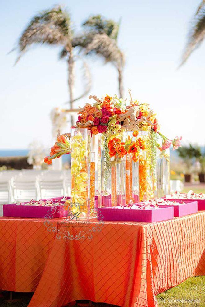 Floral arrangements and decor fuschia orange wedding