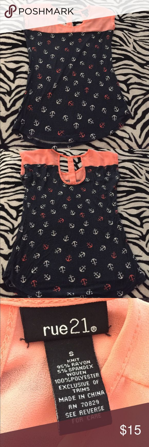 Anchor Shirt Super cute anchor shirt! Only worn twice! Soft and comfortable. Rue21 Tops Tees - Short Sleeve