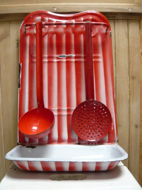 Vintage French Red Enamel Utensils Holder With Ladle And Skimmer In Two  Shades Of Red.