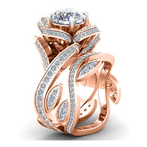 300ct Lab Created Diamond 14k Rose Gold Plated Alloy Engagement Wedding Solitaire Bridal Set Ring