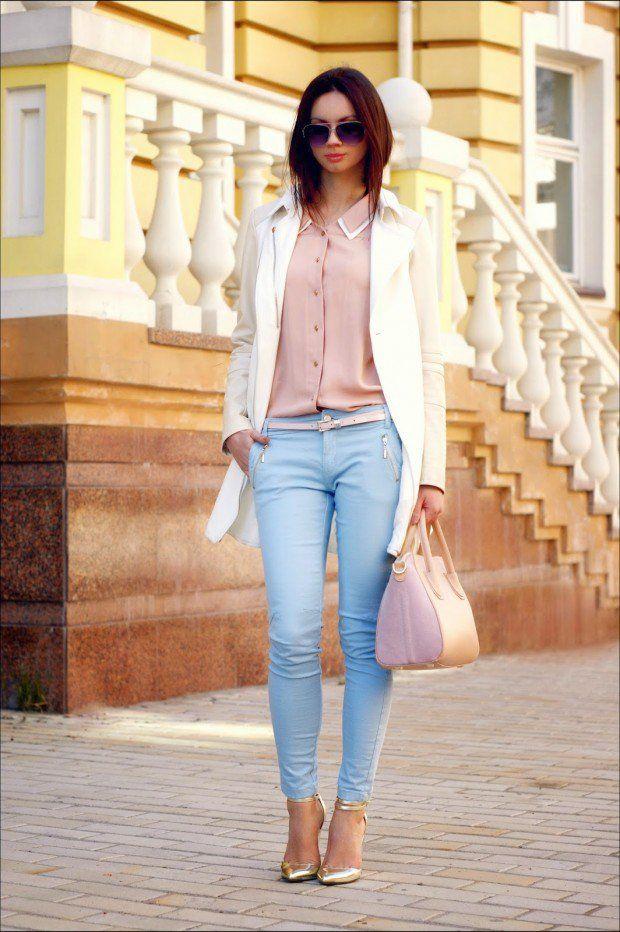 17 Mejores Ideas Sobre Pantalones De Color Azul Claro En ...