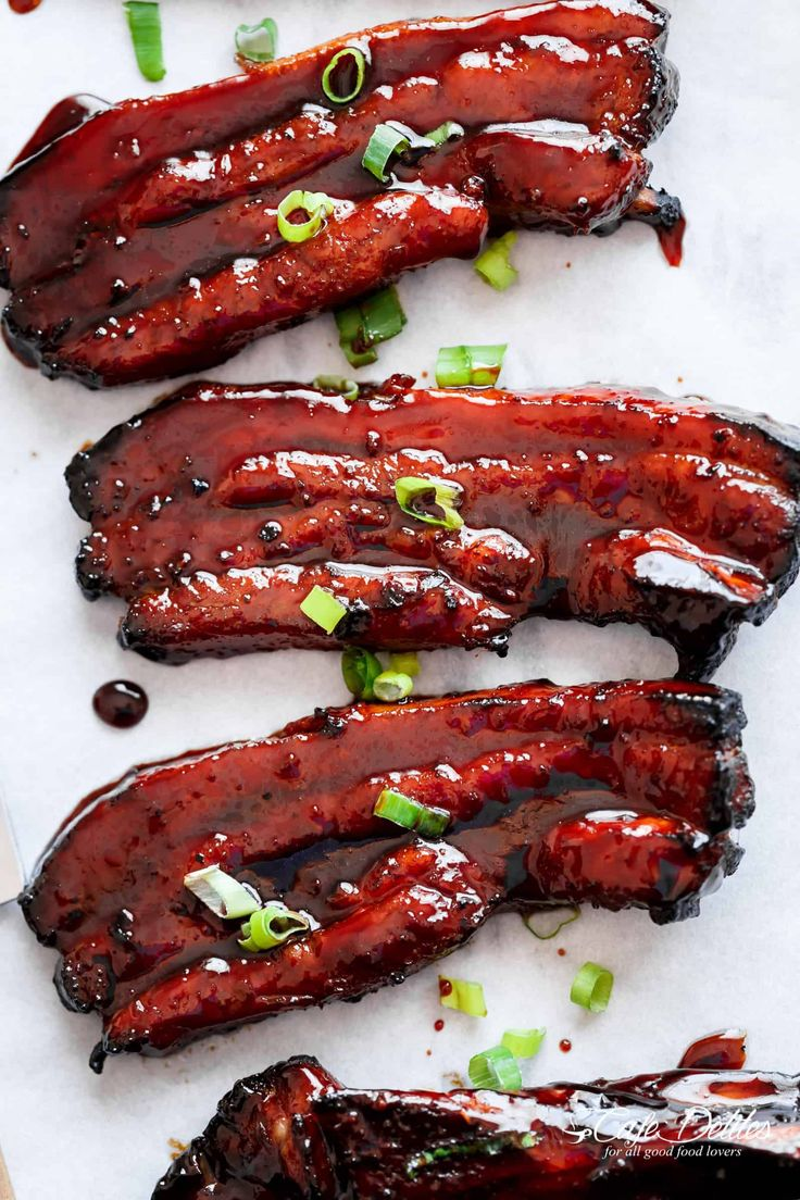 Sticky Chinese Barbecue Pork Belly Ribs (Char Siu) is one of the most popular Chinese or Cantonese foods and one of the most ordered dishes in restaurants! #chinesefoodrecipes
