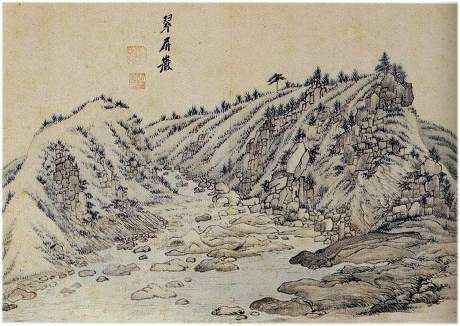 (Korea) 금병 Rock in Mt Geumgang, 1788 금강4군첩 by Danwon Kim Hong-do (1745-1806). Joseon Kingdom, Korea. color on paper. 금병암.