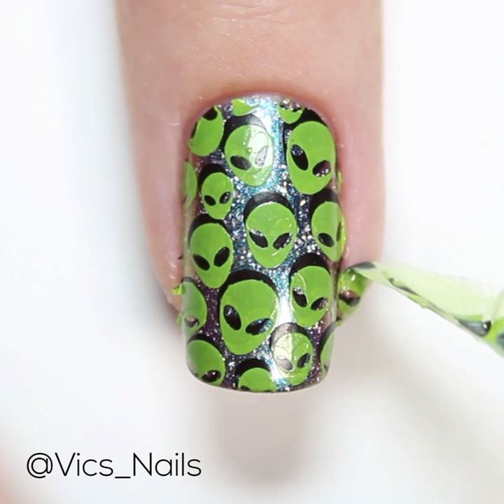 Here's the tutorial for my alien nails 👽  I used Dance Legends Galaxy, Color4Nails Onyx and Bundle Monster Limelight. Stamping plate is Whats Up Nails B011. Peel off stuff is Edge Perfection 🛸  Music by Joakim Karud #malaysianhair #bundledeals #curlyhair #houstonhair #brazilianhair #peruvianhair #virginhairsale #atlhairstylist #sewins #brooklynhairstylist #houstonhairstylist #hairextensions #nychairstylist #minkhair #humanhair #ombrehair #indianhair #hairbundle #blackgirlrock #lacefrontal…