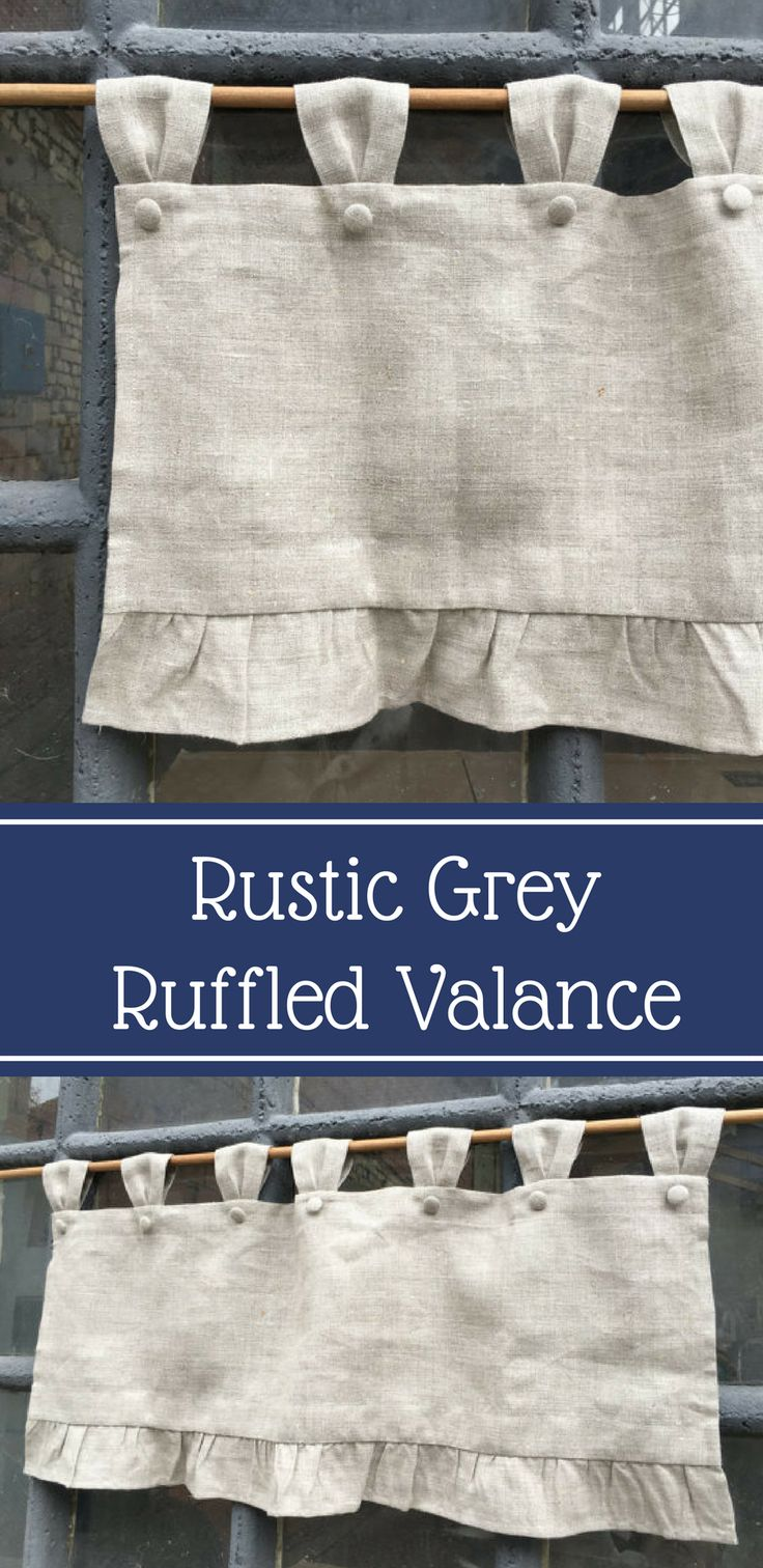 """Natural grey linen valance 16"""" length including 3"""" tab top #ad #curtain #kitchen #valence"""