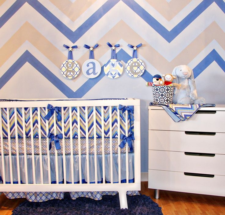 Chevron Boy Crib Bedding By Caden Lane W/ Chevron Wall