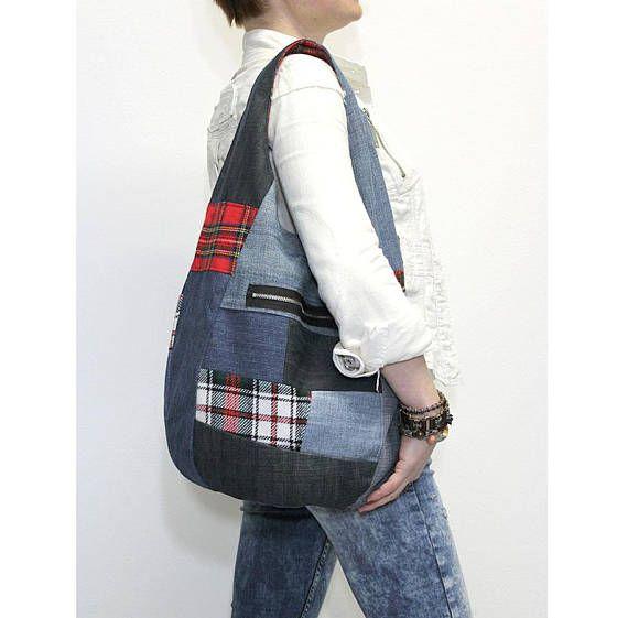 Hobo tas denim slouchy portemonnee sling tas grabbelton gerecycled denim up-fietste tartan punk emo