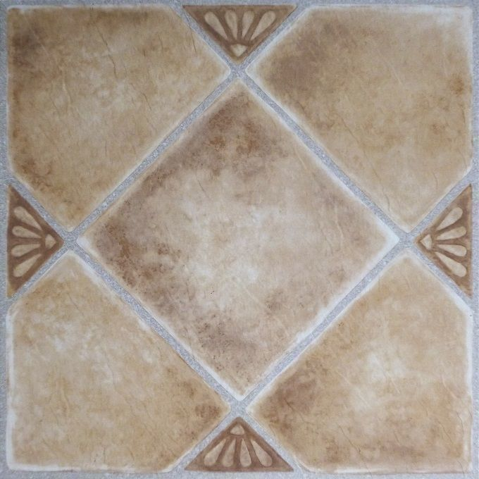 ACHIM Tivoli Clay Diamond with Accents 12x12 Self Adhesive Floor Tile - 45 Tiles/45 sq Ft.