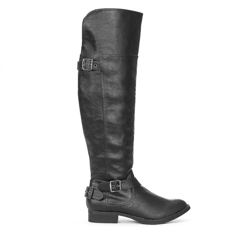Trendy Stylish Pewter Buckle Accent Over Knee High Equestrian Rider Boots Black #Soda #FashionOvertheKnee #Casual