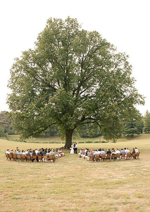 fall farm wedding - ceremony under the tree on hay bails