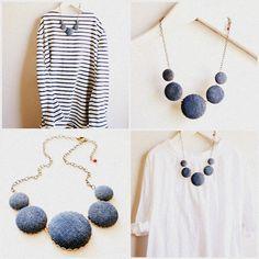 Džínovina náhrdelník, recyklovaný modré džíny náhrdelník, Blue Jeans náhrdelník | Hnízdo Pretty Things