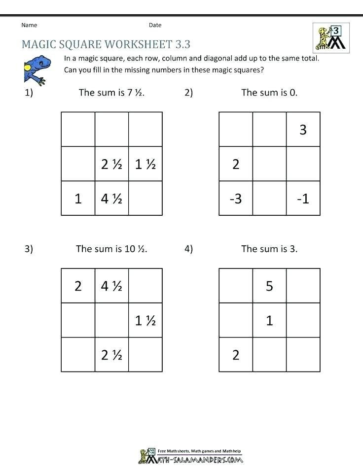 20 Magic Square 3 3 Worksheet Magic Squares Math Magic Squares