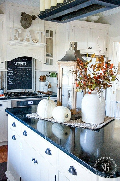 Fall Home Tour Part 2 Kitchen Island Centerpiecekitchen Counter Decorationsdecorating