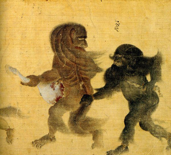 Demons fighting over a horse leg.