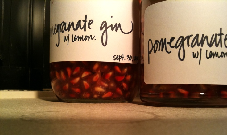 Pomegranate Gin with Lemon Rinds