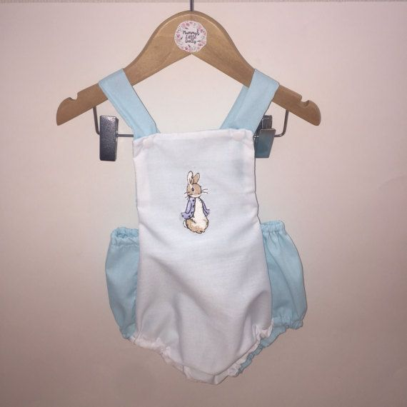 Baby boy, baby girl, 1st birthday outfit, toddlers, blue and white, peter rabbit, vintage style, romper, cake smash, newborn outfit,