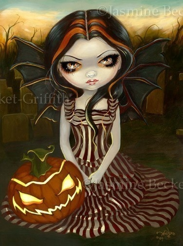 Halloween Twilight gothic fairy Pumpkin - Jack O'lantern fantasy big eye lowbrow art - print by Jasmine Becket-Griffith 8x10