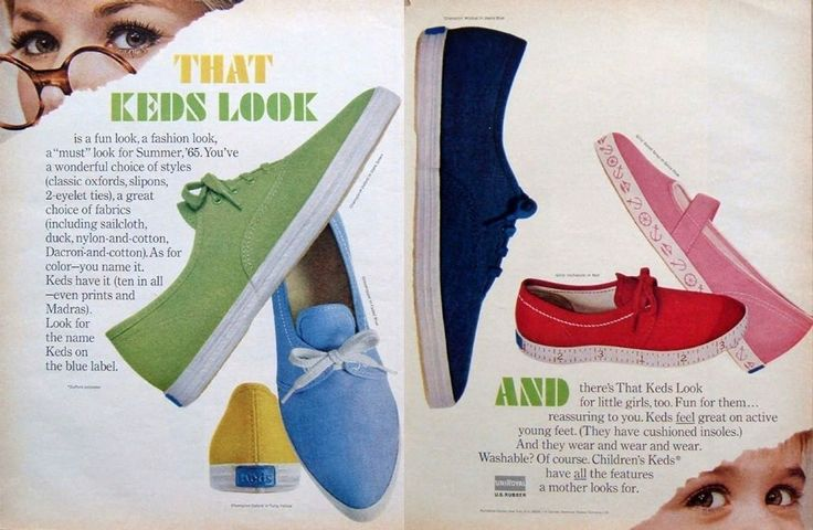 "1965 2-PAGE AD: Keds Tennis Shoes Oxford ""Inchworm"" Ruler Soles Ballet Style #KedsShoesforWomenGirls"