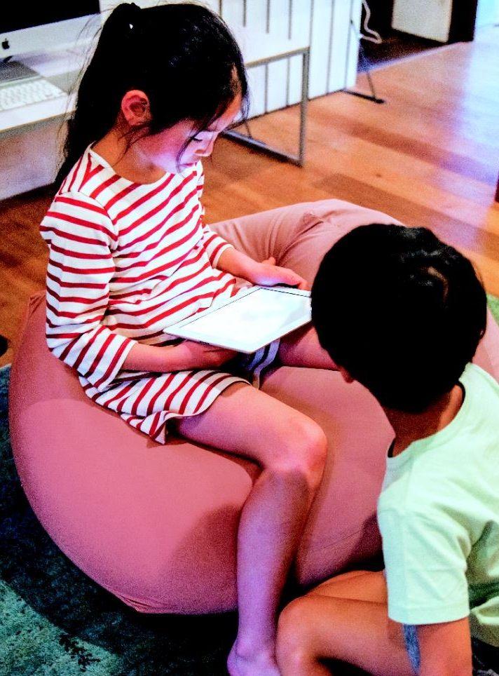 Kids just love the MUJI beads sofa.