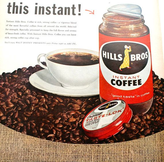 Vintage Food Ad Hills Brothers coffee 1960 by ClassicVintageAds, $8.95