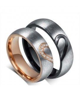 nemesacél gyűrű, Fél szív mintás női karikagyűrű nemesacélból