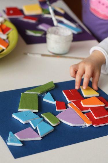 styrofoam tray mosaic project. Cool!