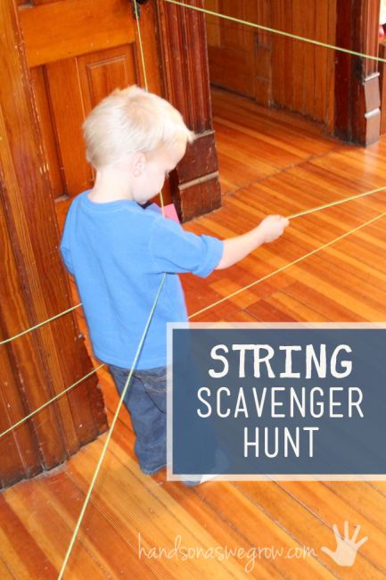 Follow the string to spell your name - an indoor scavenger for kids to do