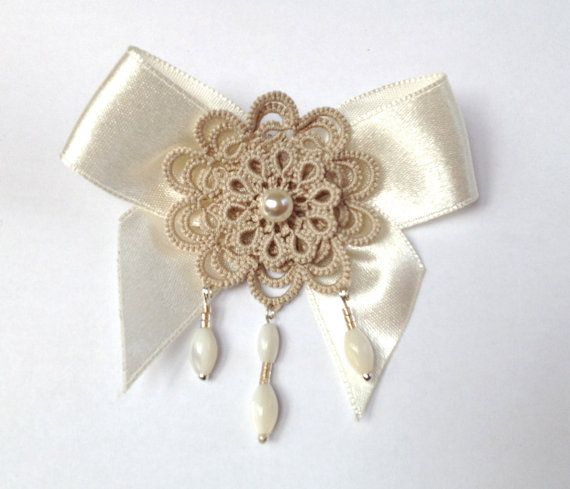 Beige tatted lace brooch floral by SILHUETTE on Etsy, Ft9500.00