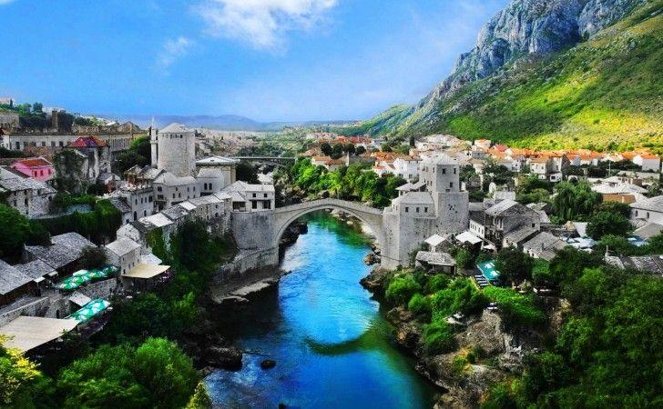 de oude stad Mostar, Bosnië en Herzegovina, natuur, Mostar, landschap