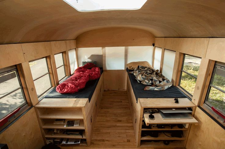The wooden beds have secret storage spaces and can expand for more sleeping space.