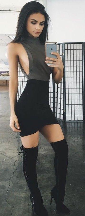#summer #tigermist #outfits   Grey Bodysuit + Black Skirt