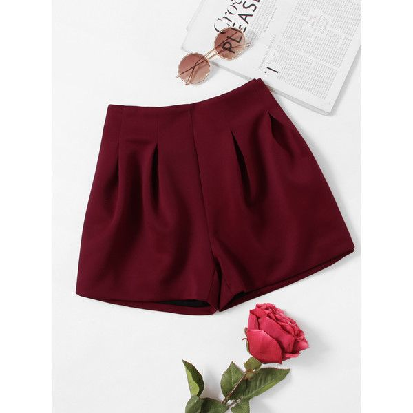 Zip Up Back Pleated Shorts (18 BAM) ❤ liked on Polyvore featuring shorts, burgundy, summer shorts, embellished shorts, pleated shorts, loose fitting shorts and burgundy shorts