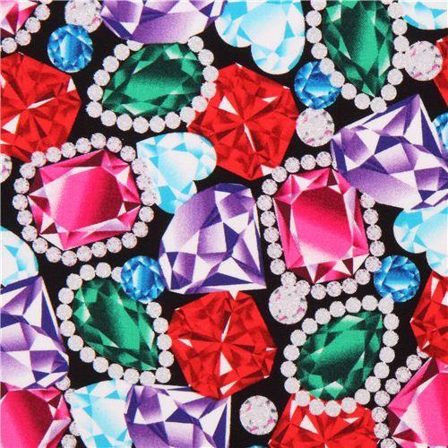 black jewel diamond gem glitter fabric Timeless Treasures USA 2