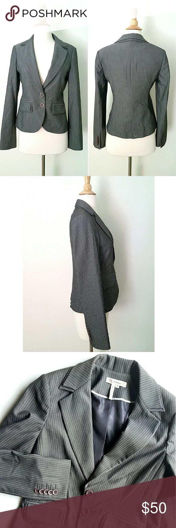 "BCBGeneration Blazer Gray striped blazer jacket with double collar. Button front,  fully lined, two flip pockets with double flips, back slit. Size says 8 but if fits like a 4, pls refer to measurements: 15.5"" shoulder to shoulder,  17.5"" armpit to armpit,  15"" waist,  21.5"" long shoulder to bottom hem,  sleeves are 25"" long.  NWOT, never worn. Pockets and back slit are still stitched. BCBGeneration Jackets & Coats Blazers"