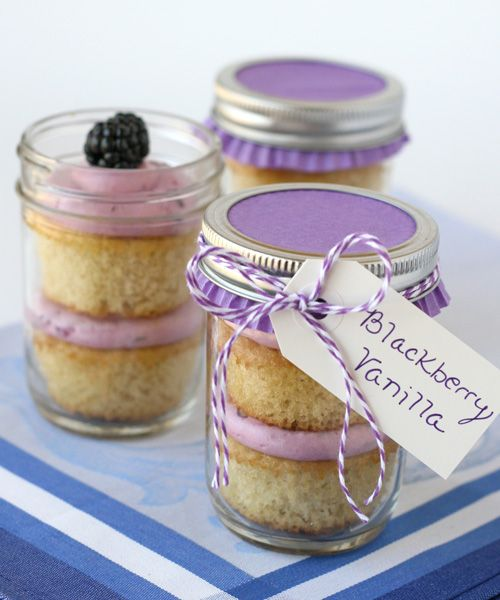 Blackberry Cupcakes in a jar. Great recipe! But also love the upside down cupcake liner on top of the jar! Brilliant!
