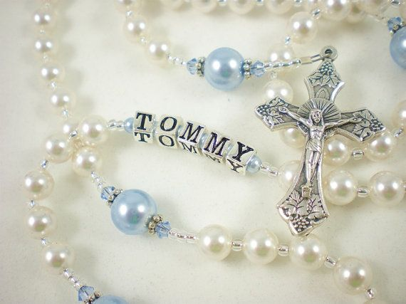 White and Blue Catholic Baptism Rosary with Swarovski Pearls  for a Baby Boy - Personalized - Under 40