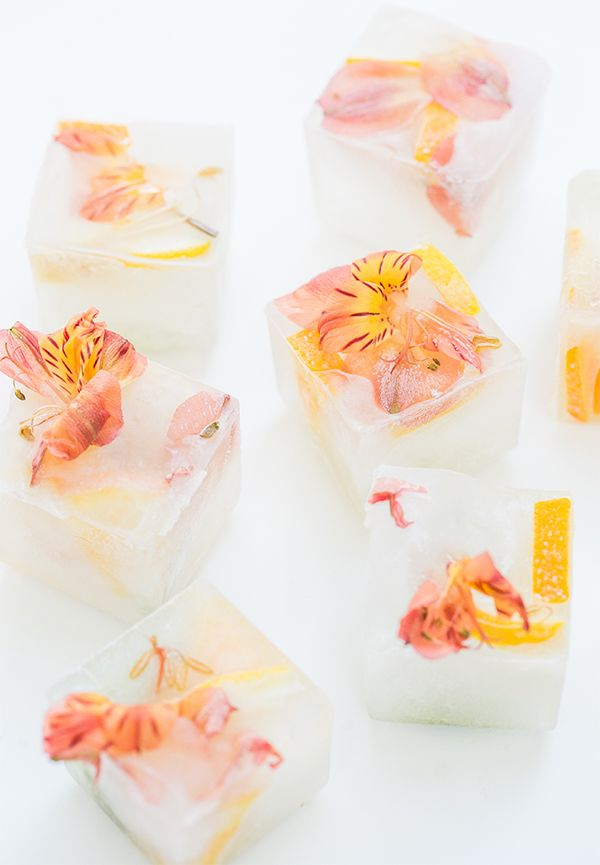 Floral Ice Cubes! A great way to add charm to water or cocktails!